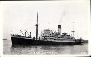 Foto Ak Steamer Patroclus, Dampfschiff, Blue Funnel Line