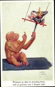 Künstler Ak Wood, Lawson, Affe zieht kleinen Affen am Schwanz, Banane