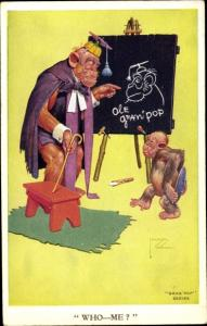 Künstler Ak Wood, Lawson, Schimpansen, Affenkind in der Schule, Lehrer