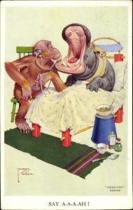 Künstler Ak Wood, Lawson, Affe als Arzt schaut ins Maul von Nilpferd, Flusspferd