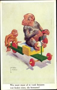 Künstler Ak Wood, Lawson, Zwei Affen mit Dreirad
