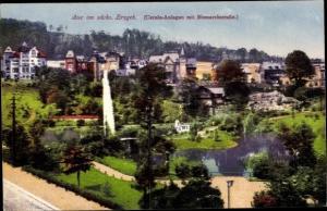 Ak Aue im Erzgebirge Sachsen, Carola Anlagen mit Bismarckstraße