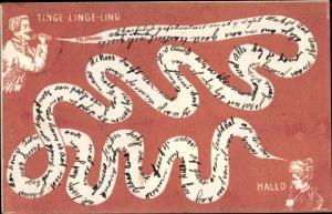 Künstler Ak Tinge linge ling, Mann und Frau am Telefon, Telefonleitung