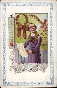Künstler Ak Thermometer, Mann im Mantel, A la Belle Jardiniere,Maison C. Beriot Lille,Chicoree extra
