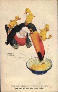 Künstler Ak Wood, Lawson, Entenküken rutschen Schnabel von Tukan herunter