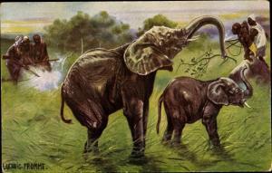 Künstler Ak Fromme, Ludwig, Elefanten Jagd, Jäger