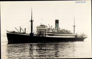 Ak Steamer SS Hector, Dampfschiff, Blue Funnel Line