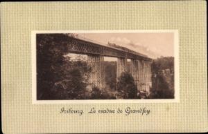 Passepartout Ak Fribourg Freiburg Stadt Schweiz, Le viaduc de Grandfey, Dampflok
