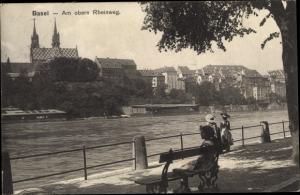 Ak Bâle Basel Stadt Schweiz, Am oberen Rheinweg