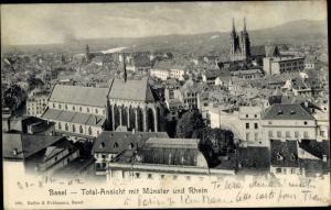 Ak Bâle Basel Stadt Schweiz, Totalansicht mit Münster und Rhein