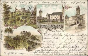 Litho Coburg in Oberfranken, Veste Coburg, Festungshof, Tor