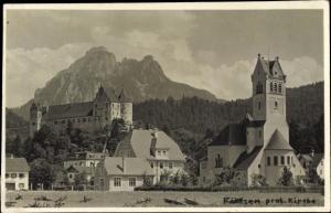 Ak Füssen im Ostallgäu, protestantische Kirche, Teilansicht