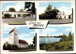 Ak Mörse Wolfsburg in Niedersachsen^, Kirche, Geschäft, Gebäude