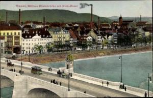 Ak Bâle Basel Stadt Schweiz, Neue mittlere Rheinbrücke mit Klein Basel