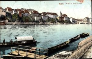 Ak Bâle Basel Stadt Schweiz, Mittlere Rheinfähre