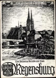 Wappen Ak Regensburg an der Donau Oberpfalz, Die steinerne Brücke mit Dom