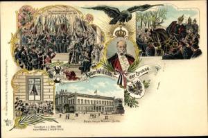 Wappen Litho Kaiser Wilhelm der Große, Portrait, Palais, Kaiserproklamation