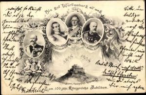 Ak 100 jähriges Königreich Jubiläum 1906, König Wilhelm II  von Württemberg