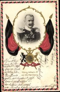 Präge Wappen Ak König Wilhelm II von Württemberg, Portrait