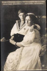 Ak Alexandra Fjodorowna, Alix von Hessen Darmstadt, Kaiserin von Russland mit Sohn