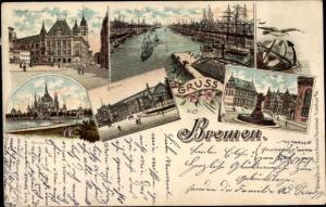 Litho Hansestadt Bremen, Markt, Bahnhof, Gerichtsgebäude, Hafen