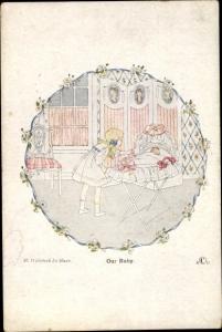 Künstler Ak Willebeek Le Mair, H., Our Baby, English and Dutch Rhymes, Mädchen
