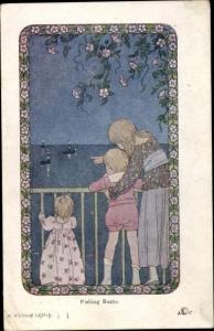 Künstler Ak Willebeek Le Mair, H., Fishing Boats, drei Kinder