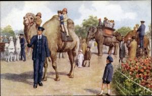 Künstler Ak Kinder reiten auf Kamel, Elefant, Lamakutsche