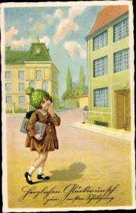 Ak Glückwunsch Einschulung, Mädchen vor der Schule