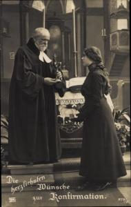 Ak Glückwunsch Konfirmation, Mädchen, Priester, Altar