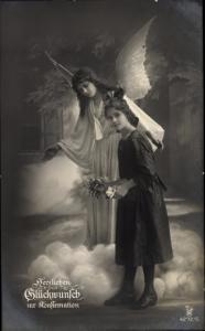 Ak Glückwunsch Konfirmation, Engel, Mädchen, Ph 4272 5