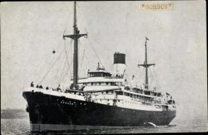 Foto Ak Steamer Gorgon, Dampfschiff, Blue Funnel Line