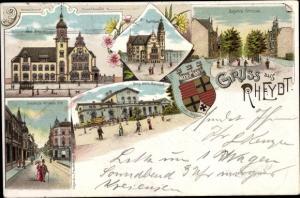 Litho Rheydt Mönchengladbach im Ruhrgebiet, Neue Post, Augustastraße, Rathaus, Bahnhof, Wappen
