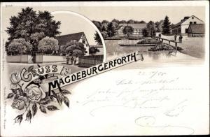 Litho Magdeburgerforth Möckern im Jerichower Land, Ortsansicht