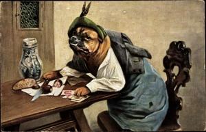 Künstler Ak Vermenschlichter Hund, Zu Tisch, Kartenspiel, Wurst, Brot, Messer