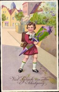 Ak Glückwunsch Einschulung, Mädchen mit Zuckertüte, Amag 3167