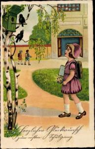Ak Glückwunsch Einschulung, Mädchen auf dem Weg zur Schule, Nistkasten