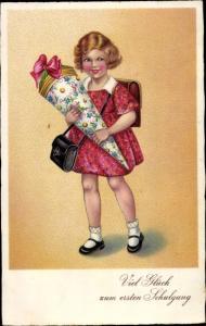 Ak Glückwunsch Einschulung, Mädchen mit Zuckertüte, BNK 3899