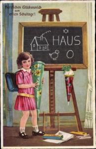 Ak Glückwunsch Einschulung, Mädchen mit Zuckertüte, Schultafel, BNK 3389