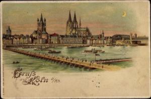 Halt gegen das Licht Litho Köln am Rhein, Schiffbrücke, Dom, Mondschein
