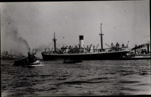 Foto Ak Steamer Myrmidon, Dampfschiff, Blue Funnel Line