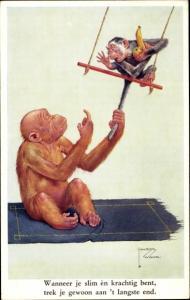 Künstler Ak Wood, Lawson, Affe zieht anderen Affen am Schwanz, Schaukel