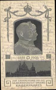 Präge Litho Silberhochzeit Kaiser Wilhelm II. von Preußen, Kaiserin Auguste Viktoria, 1906