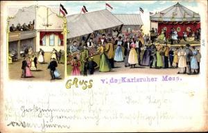 Litho Karlsruhe in Baden Württemberg, Volksfest, Ballsaal, Karussell