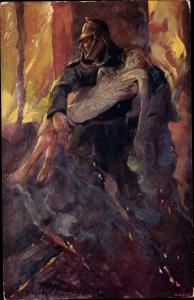 Künstler Ak Feuerwehrmann rettet Frau aus den Flammen