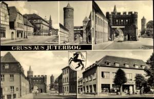 Ak Jüterbog in Brandenburg, Pferdestraße, Zinnaer Tor, Konsum, Dammtor mit Wehrtürmen, Wappen