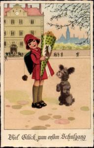 Ak Glückwunsch Einschulung, Mädchen mit Zuckertüte, Hund