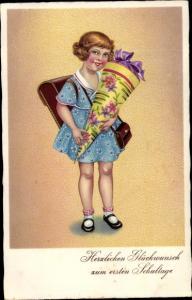 Ak Glückwunsch Einschulung, Mädchen mit Zuckertüte, BNK 3839