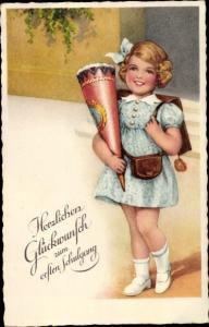 Ak Glückwunsch Einschulung, Mädchen mit Zuckertüte