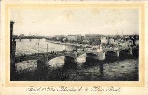 Ak Bâle Basel Stadt Schweiz, Neue Rheinbrücke und Klein Basel
